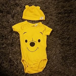 H&M winnie the pooh onesie and hat set